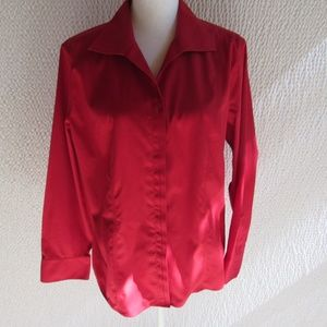 Chicos Red No Iron Shirt XL 3 Mint Condition long